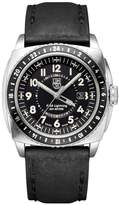 "Luminox P-38 Lightning"" Silvertone Black Leather Chronograph Watch"