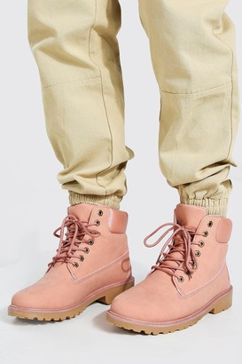 boohoo Mens Pink Worker Boots, Pink