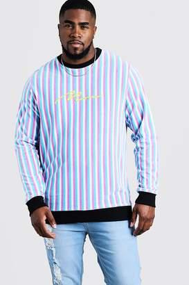 boohoo Big & Tall MAN Velour Stripe Sweater