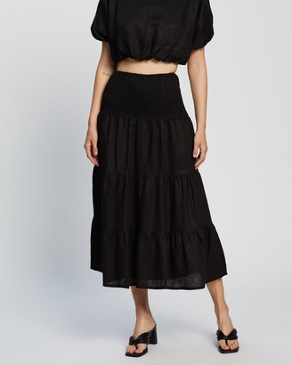AERE - Women's Black Midi Skirts - Smocked Skirt - Size 10 at The Iconic
