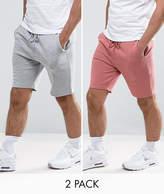 Asos Jersey Skinny Shorts 2 Pack Pink/grey Marl Save