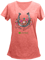 John Deere Sunset Horseshoe Logo V-Neck Tee - Plus Too