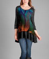 Aster Blue & Gray Abstract Ruffle-Hem Scoop-Neck Tunic - Plus - Plus Too