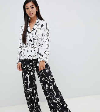 ASOS DESIGN Petite mono face print double breasted shirt and pants pyjama set