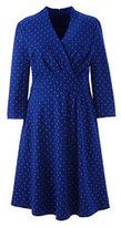 Classic Women's Plus Size 3/4 Sleeve Ponté Surplice Dress-Cherry Jam