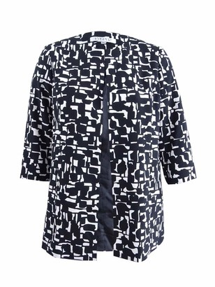 Kasper Women's Plus Size Abstract Printed Crepe Topper