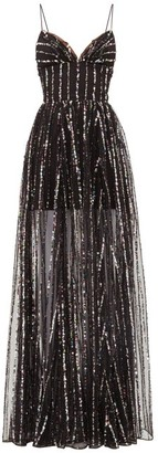 Rasario Sequinned Tulle Dress - Black