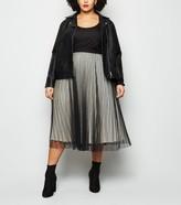 New Look Curves Glitter Mesh Pleated Skirt