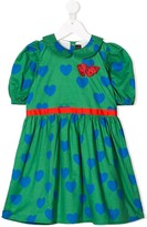 Mini Rodini heart-print puff-sleeve dress