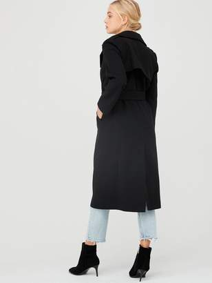 River Island Double Breasted Longline Belted Coat-black