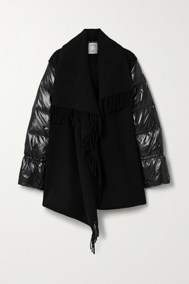 Moncler Fringed Wool And Quilted Shell Jacket - Black