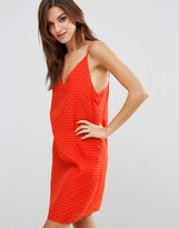 Vila Lado Textured Cami Dress In Red