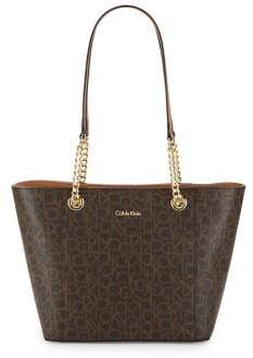 Calvin Klein Hayden Top-Zip Leather Tote