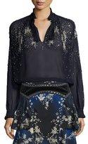 Roberto Cavalli Star-Embellished Silk Tunic, Dark Navy