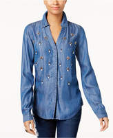 INC International Concepts Embellished Chambray Shirt, Created for Macy's