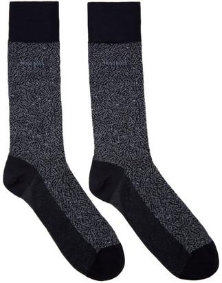BOSS Navy Mercerized Mini Pattern Socks
