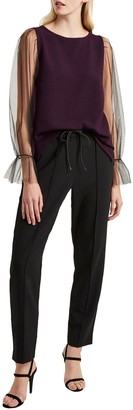 French Connection Phyliss Sheer Top, Black Grape