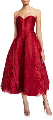 J. Mendel Pleated Satin Strapless Tea-Length Dress