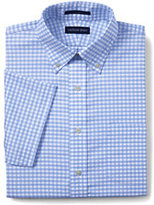 Classic Men's Big & Tall Traditional Fit Short Sleeve Supima Pattern No Iron Oxford Shirt-Frost Blue Gingham
