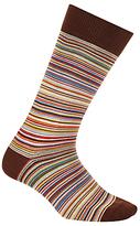 Paul Smith Multi Stripe Cotton Socks, One Size, Orange