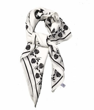 Caprilite Big Square 70cm x 70cm Ladies Womans Faux Silk Head Neck Warmer Scarf - Small Roses Print Black and White
