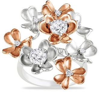 Rina Limor Fine Jewelry 14K Two-Tone 1.04 Ct. Tw. Diamond & Sapphire Floral Ring