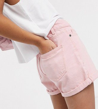 Noisy May Petite mom denim shorts in pastel pink
