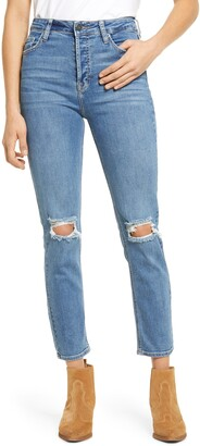Hidden Jeans Ripped High Waist Ankle Straight Leg Jeans