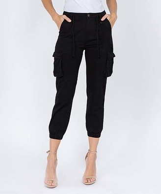 American Bazi Women's Denim Pants and Jeans BLACK - Black Basic Drawstring Cropped Cargo Joggers - Women & Plus