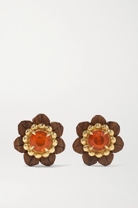 Silvia Furmanovich Botanical Marquetry 18-karat Gold, Wood, Opal And Sapphire Earrings