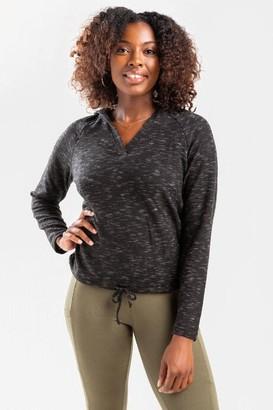 francesca's Demie Tie Bottom Sweatshirt Hoodie - Black