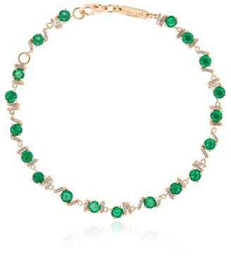 Suzanne Kalan 18kt Yellow Gold, Emerald And Diamond Tennis Bracelet