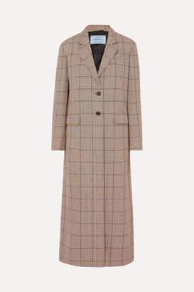 Prada Houndstooth Wool-blend Tweed Coat - Beige