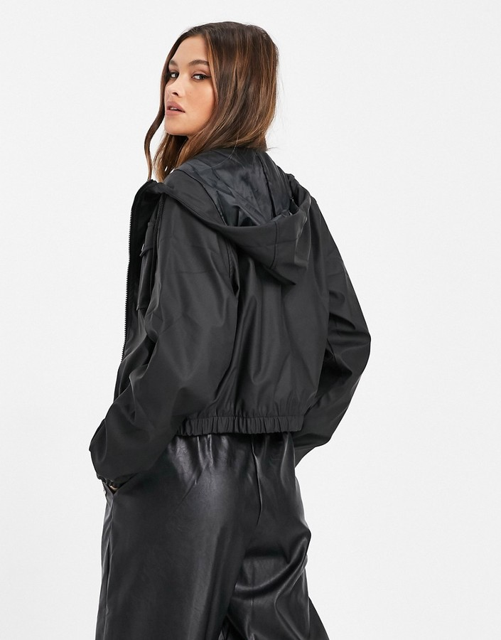 Thumbnail for your product : Qed London PU cropped zip through jacket in black