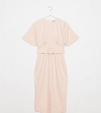 Asos Tall ASOS DESIGN Tall belted midi dress with underbust seams in blush
