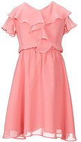 Us Angels Lavender by Big Girls 7-14 Flutter Sleeve Chiffon Fit-And-Flare Dress