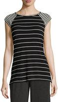 Max Studio Striped Knit Top, Black/Ivory