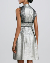 Kay Unger New York Lace-Trimmed Cocktail Dress
