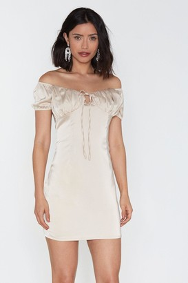 Nasty Gal Womens Busted Satin Off-The-Shoulder Dress - Tan - 12, Tan