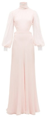 Alexander McQueen High-neck Open-back Silk-chiffon Gown - Womens - Light Pink