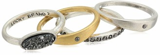 Lucky Brand Women's Two Tone Druzy Stack Ring Set