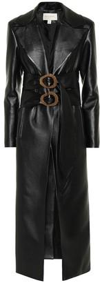 MATÉRIEL Double-belted faux-leather coat