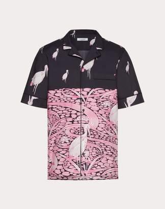 Valentino Short-sleeve Japanese Pond Shirt Man Dark Blue 100% Cotone 48