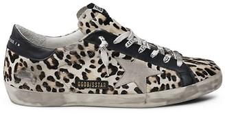 Golden Goose Men's Superstar Leopard-Print Calf Hair & Leather Sneakers