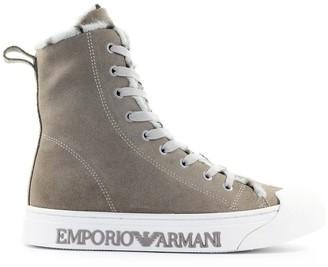 Emporio Armani Taupe Suede High Sneaker