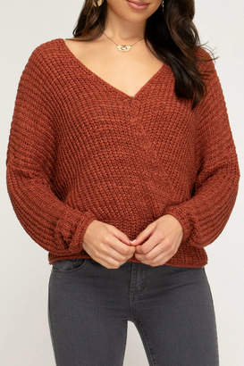 She + Sky OPEN BACK PULLOVER KNIT SWEATER