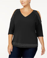 INC International Concepts Plus Size Studded Cold-Shoulder Top, Created for Macy's