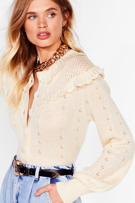 Nasty Gal Womens What Frill It Be Knitted Button-Down Cardigan - Cream