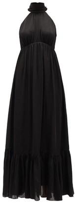 Zimmermann Wavelength Silk-chiffon Midi Dress - Womens - Black