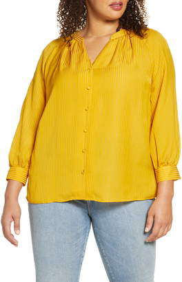 1 STATE Shadow Stripe Button-Up Top